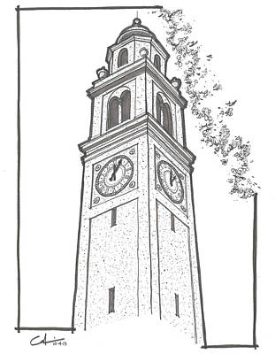 Louisiana State University Drawing - Lsu Memorial Bell Tower by Calvin Durham