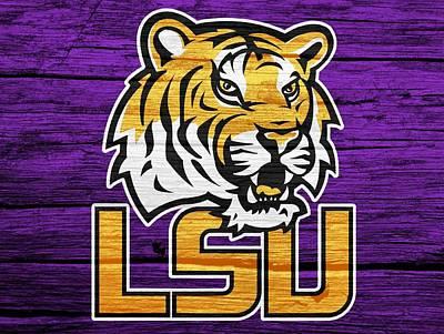 Louisiana State University Mixed Media - Lsu Tigers Barn Door by Dan Sproul