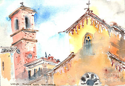 Piazza Drawing - Lucca Plaza San Salvatore by Fred Truitt