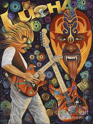 Lucha Rock Print by Ricardo Chavez-Mendez
