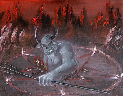 Pentagram Art Painting - Lucifer Rising by Nina Efk