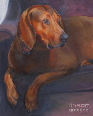 Coonhound Painting - Lucky 13 by Julie Hart