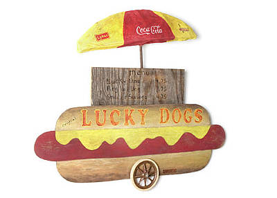 Mixed Media - Lucky Dogs Cart  by Benjamin Bullins