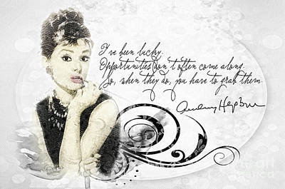Audrey Hepburn Mixed Media - Lucky by Mo T