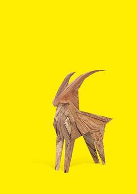 Goat Digital Art - Lucky Rampant by Pollyanna Illustration