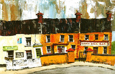 An Island Painting - Lucky Star Bar On Aran Galway by Val Byrne