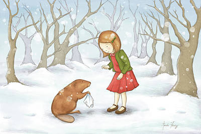 Beaver Drawing - Lucy by Amanda Francey