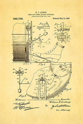Celebrities Photograph - Ludwig Drum And Cymbal Apparatus Patent Art 1909 by Ian Monk
