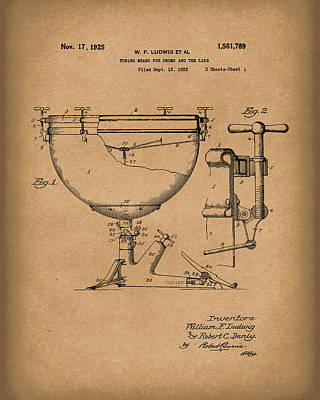 Drum Drawing - Ludwig Drums 1925 Patent Art Brown by Prior Art Design