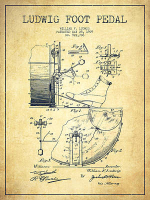 Drum Digital Art - Ludwig Foot Pedal Patent Drawing From 1909 - Vintage by Aged Pixel