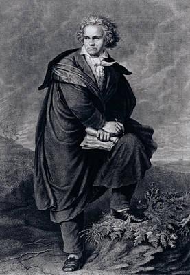 Ludwig Van Beethoven , German Composer Print by P. Schworer