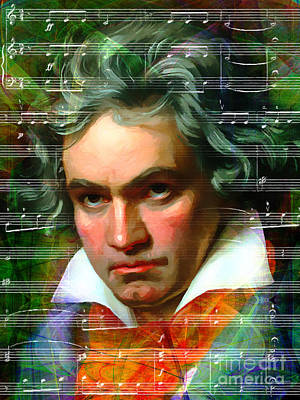 Ludwig Van Beethoven 20140122v2 Dark Print by Wingsdomain Art and Photography