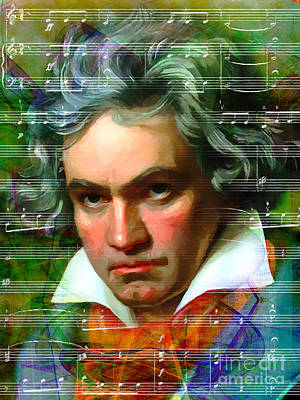 Ludwig Van Beethoven 20140122v2 Print by Wingsdomain Art and Photography
