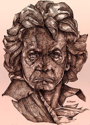 Sepia Ink Drawing - Ludwig Van Beethoven by Derrick Higgins