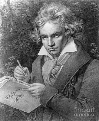 White Drawing - Ludwig Van Beethoven by Joseph Carl Stieler