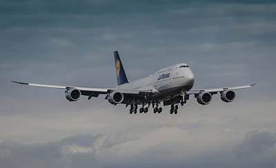 Airliners Photograph - Lufthansa Boeing 747 Landing  by Puget  Exposure