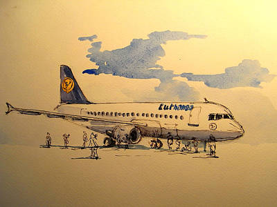 Berlin Painting - Lufthansa Plane by Juan  Bosco