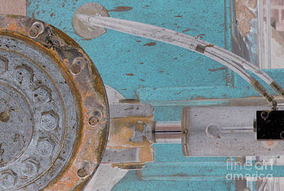 Grate Photograph - Lug Nut Wheel Left Turquoise And Copper by Heather Kirk