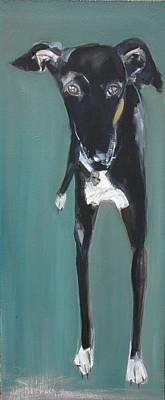 Greyhound Photograph - Lula, 2009 Oil On Board by Sally Muir