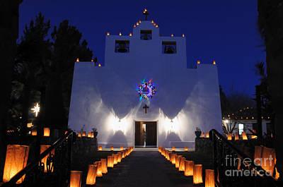 St. Francis De Paula Catholic Church Tularosa New Mexico Photograph - Luminarias At St Francis De Paula by Vivian Christopher