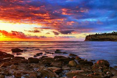 Lunada Bay Sunset Print by Tom Dupee