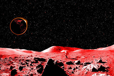 Abstract Wall Art Digital Art - Lunar Eclipse As Seen From The Moon by J D Owen