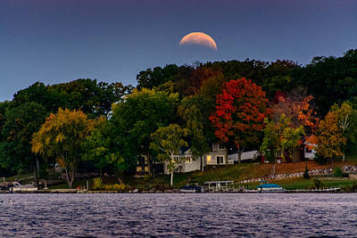 Lunar Eclipse Over Pewaukee Lake Print by Randy Scherkenbach