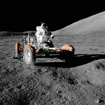 Galaxies Photograph - Lunar Rover During The First Eva Of Apollo 17 by Celestial Images