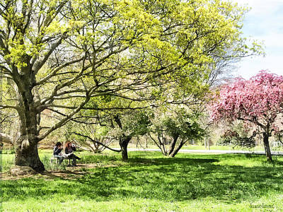 Park Benches Photograph - Lunch In The Park In Spring by Susan Savad