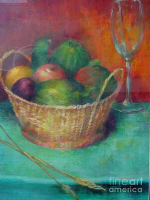 Italian Wine Painting - Lunch In Tuscany  Copyrighted by Kathleen Hoekstra
