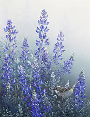 Warbler Painting - Lupine by Mike Stinnett