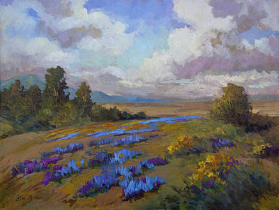 Sunflower Painting - Lupines And Desert Sunflowers by Diane McClary