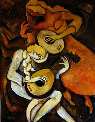 Lute Players Original by Valerie Vescovi