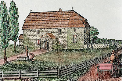 Lutheran Church Built In 1743 Trappe Print by Prisma Archivo