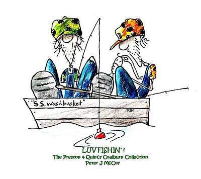 Bass Fishing Drawing - Luv Fishin' - Cartoon by Peter McCoy