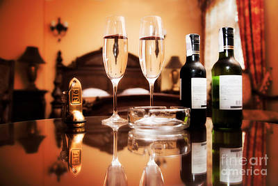 Wine Service Photograph - Luxury Interior Hotel Room With Elegant Service by Michal Bednarek