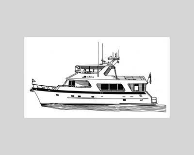 Watersports Drawing - Luxury Motoryacht by Jack Pumphrey