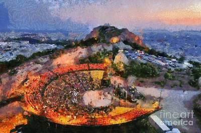 Theater Painting - Theater On Lycabettus Hill by George Atsametakis