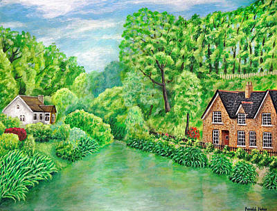 River Painting - Lymm Village Lower Dam by Ronald Haber