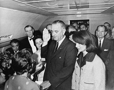 Lyndon Johnson Sworn In Print by Cecil W. Stoughton