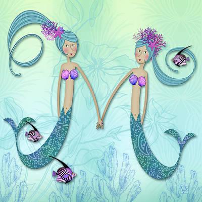 Mermaid Mixed Media - M Is For Marvelous Mermaids by Valerie Drake Lesiak
