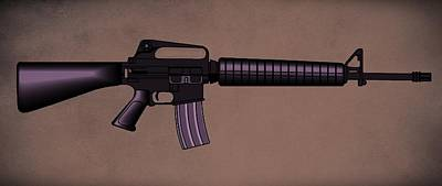 Cartridge Digital Art - M16 Rifle A by Movie Poster Prints