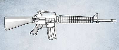 Cartridge Digital Art - M16 Rifle B by Movie Poster Prints