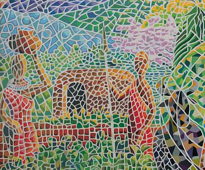 Maasai Couple And Cow Print by Anthony Mwangi