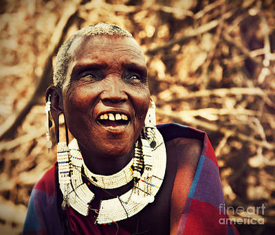Maasai Old Woman Portrait In Tanzania Print by Michal Bednarek