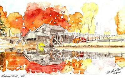 Mabry Painting - Mabry Mill In Fall  by Alexander Walker