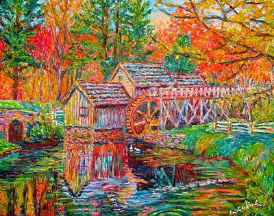 Mabry Painting - Mabry Mill In Fall by Kendall Kessler