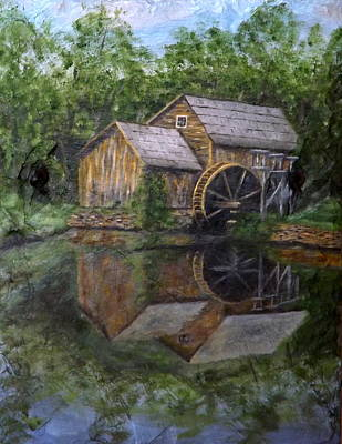Mabry Painting - Mabry Mill Oil On Slate by Gino Didio