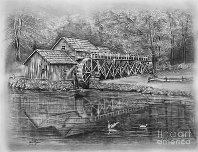 Fence Drawing - Mabry Mill Pencil Drawing by Lena Auxier