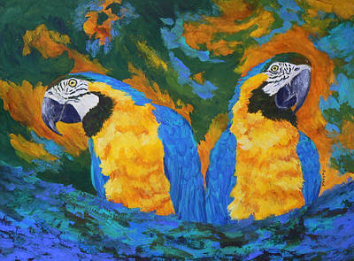 Blue And Gold Macaw Painting - Macaw Mates by Margaret Saheed